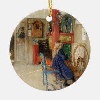 Vintage Little Girl at Spinning Wheel Ceramic Ornament