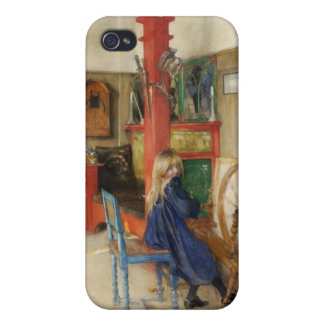 Vintage Little Girl at Spinning Wheel iPhone 4/4S Cases