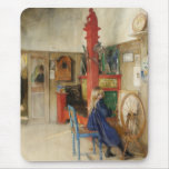 Vintage Little Girl at Spinning Wheel Mouse Pad