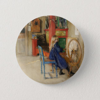 Vintage Little Girl at Spinning Wheel Pinback Button