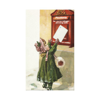 Vintage Little Girl at the mailbox Canvas Print