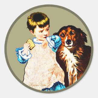 Vintage Little Girl Brown White Dog Cake Classic Round Sticker