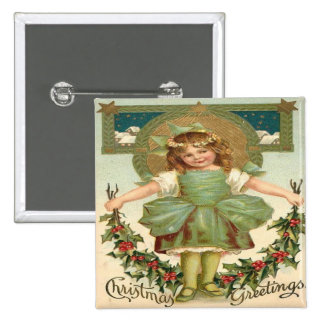 Vintage Little Girl Christmas Greeting Pinback Button