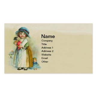 Vintage Little Girl Chubby Cheeks Hat Dolls Business Cards