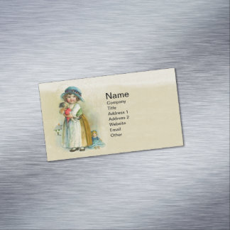 Vintage Little Girl Chubby Cheeks Hat Dolls Business Card Magnet