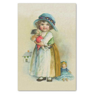 "Vintage Little Girl Chubby Cheeks Hat Dolls 10"" X 15"" Tissue Paper"