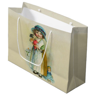 Vintage Little Girl Chubby Cheeks Hat Dolls Large Gift Bag