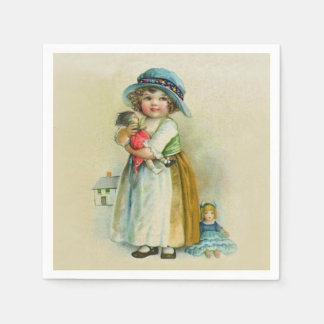 Vintage Little Girl Chubby Cheeks Hat Dolls Napkin