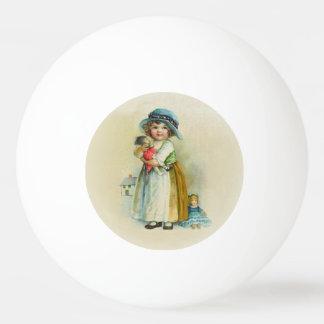 Vintage Little Girl Chubby Cheeks Hat Dolls Ping Pong Ball