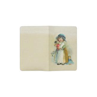 Vintage Little Girl Chubby Cheeks Hat Dolls Pocket Moleskine Notebook