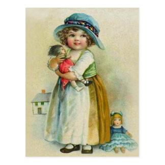 Vintage Little Girl Chubby Cheeks Hat Dolls Postcard