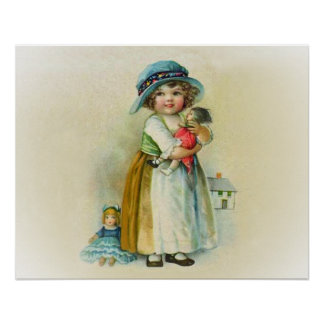 Vintage Little Girl Chubby Cheeks Hat Dolls Poster