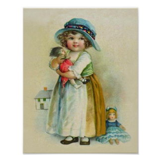 Vintage Little Girl Chubby Cheeks Hat Dolls Poster