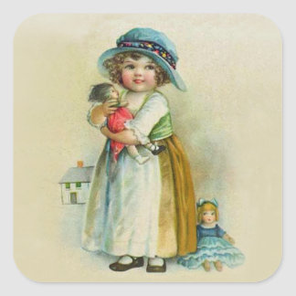 Vintage Little Girl Chubby Cheeks Hat Dolls Square Sticker