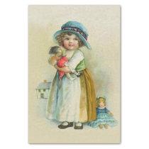 Vintage Little Girl Chubby Cheeks Hat Dolls Tissue Paper