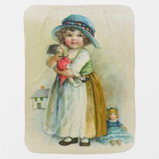 Vintage Little Girl Chubby Cheeks Hat Dolls Stroller Blanket