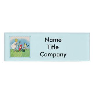 Vintage Little Girl Elves Red Hats Singing Bird Name Tag