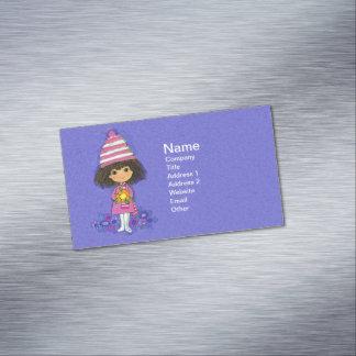 Vintage Little Girl Flower 1960s Mod Magnetic Business Card