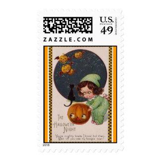 vintage-little-girl-flying-pumpkins-black-cat-card postage