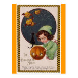 vintage-little-girl-flying-pumpkins-black-cat-card postcard