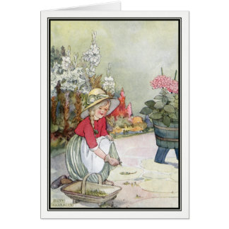 Vintage Little Girl Gardening by Anne Anderson Card