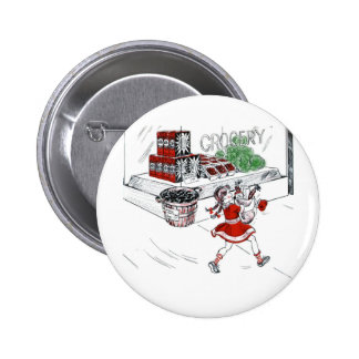 Vintage Little Girl Grocery Shopping Pins