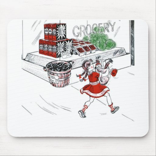 Vintage Little Girl Grocery Shopping Mouse Pad