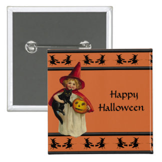 Vintage Little Girl Halloween Button