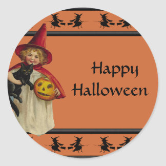 Vintage Little Girl Halloween Sticker