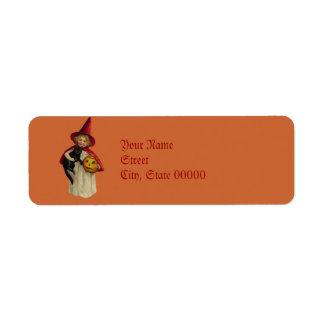 Vintage Little Girl Halloween Witch Return llabel Label