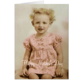 Vintage little girl in pink dress Mothers Day card
