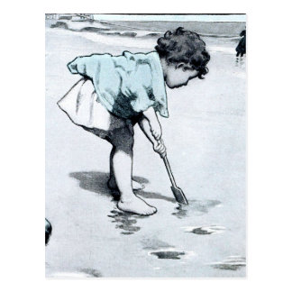 Vintage little girl on the Beach Postcard