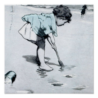 Vintage little girl on the Beach Poster