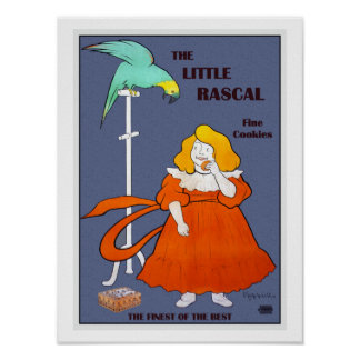 Vintage little girl, parrot, cookies ad, Leonetto Poster