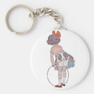 Vintage Little Girl Playing - Key Chain