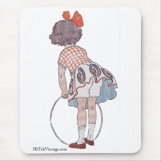 Vintage Little Girl Playing - Mouse Pad