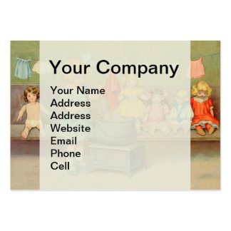 Vintage Little Girl Playing With Dolls Large Business Cards (Pack Of 100)