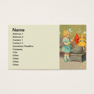 Vintage Little Girl Playing With Dolls Business Card