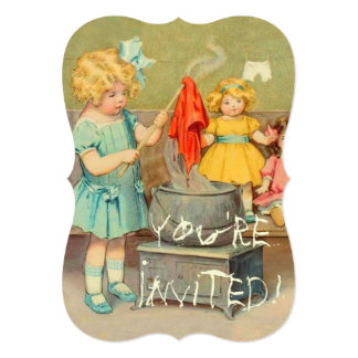 Vintage Little Girl Playing With Dolls Card