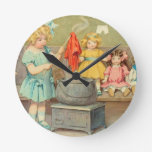 Vintage Little Girl Playing With Dolls Round Wallclocks