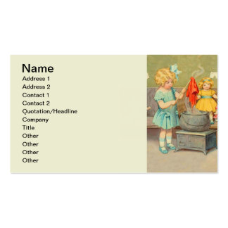 Vintage Little Girl Playing With Dolls Double-Sided Standard Business Cards (Pack Of 100)