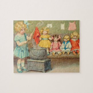 Vintage Little Girl Playing With Dolls Jigsaw Puzzle