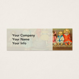 Vintage Little Girl Playing With Dolls Mini Business Card