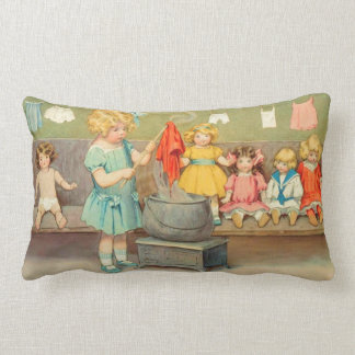 Vintage Little Girl Playing With Dolls Throw Pillow