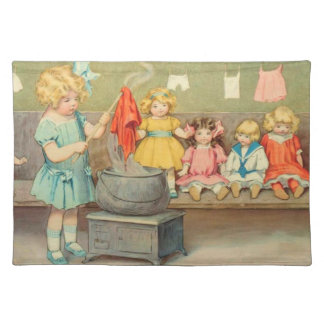 Vintage Little Girl Playing With Dolls Placemat