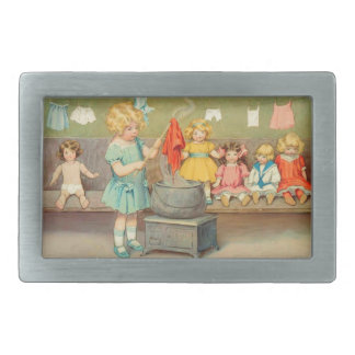 Vintage Little Girl Playing With Dolls Rectangular Belt Buckle