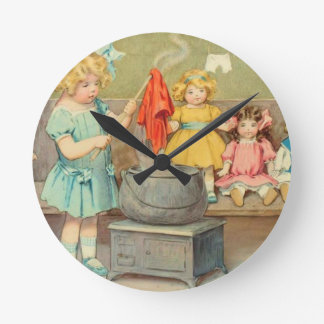 Vintage Little Girl Playing With Dolls Round Clock