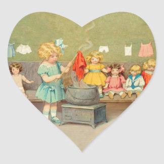 Vintage Little Girl Playing With Dolls Heart Sticker