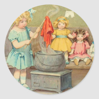 Vintage Little Girl Playing With Dolls Classic Round Sticker