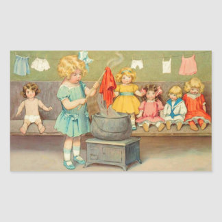 Vintage Little Girl Playing With Dolls Rectangular Sticker